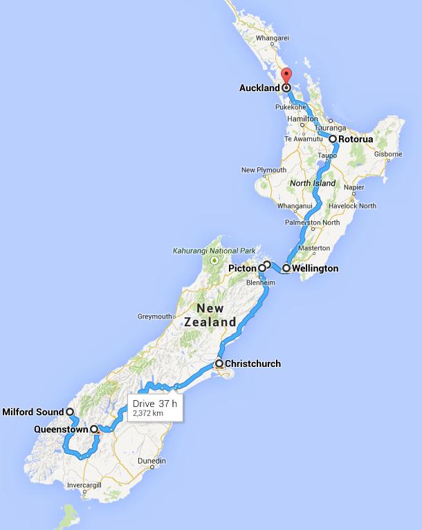 Traseul pe care l-am urmat prin Noua Zeelandă