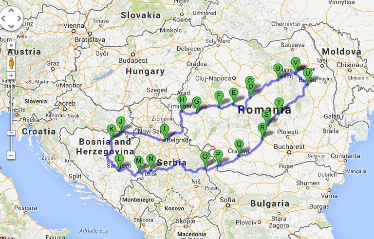 Traseul complet al călătoriei prin Balcani.