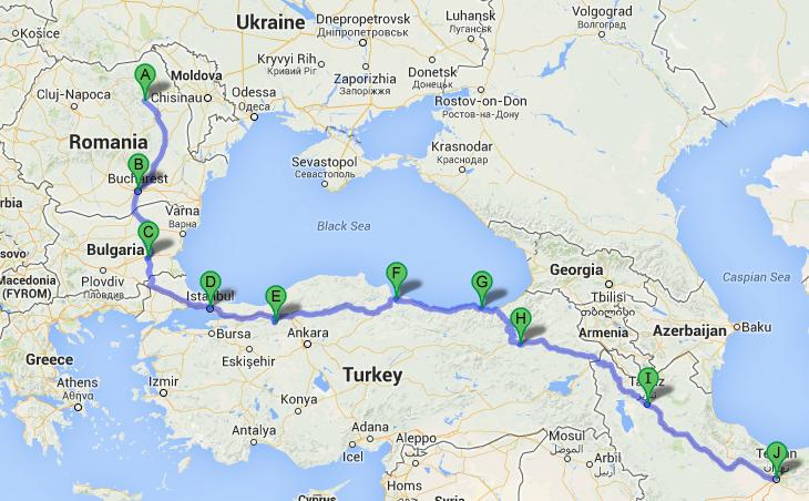 Traseul pe care îl voi urma spre Iran.